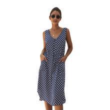 Новый жилет Платье V-образным вырезом Свободные рукавов горошек Украшения Ремни Талия Карманная юбка