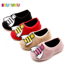 Girls children home slipper cute casual cotton shoes fashion soft slippers winter kids small bee 1-6 years old baby tide