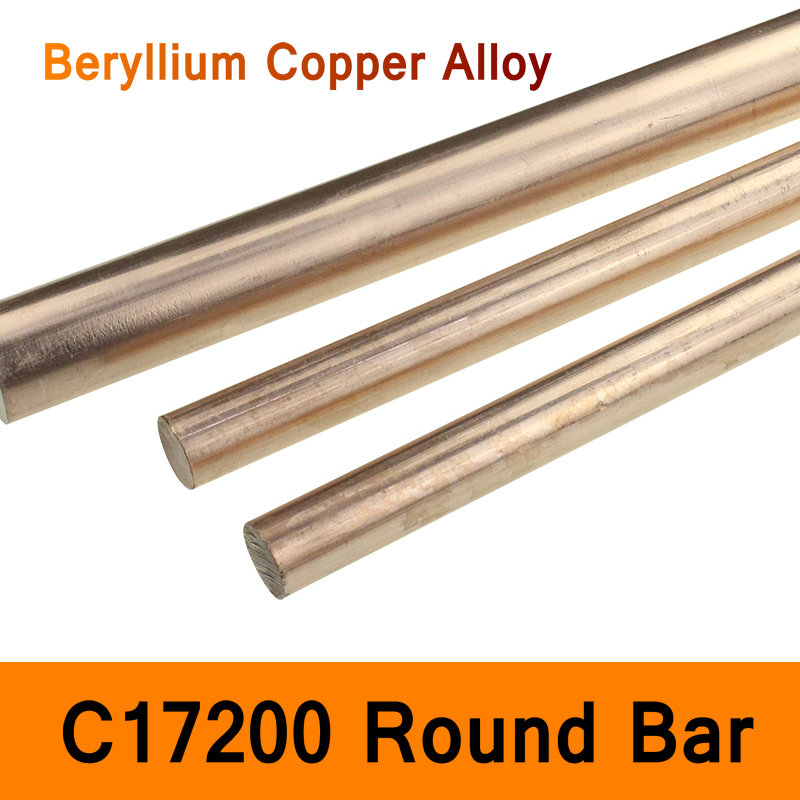 C17200 Bar Beryllium Copper Alloy Bar QBe2 Material Electrode Diameter 5-40mm Length 200mm DIY Mold Mould CNC Machine Tool