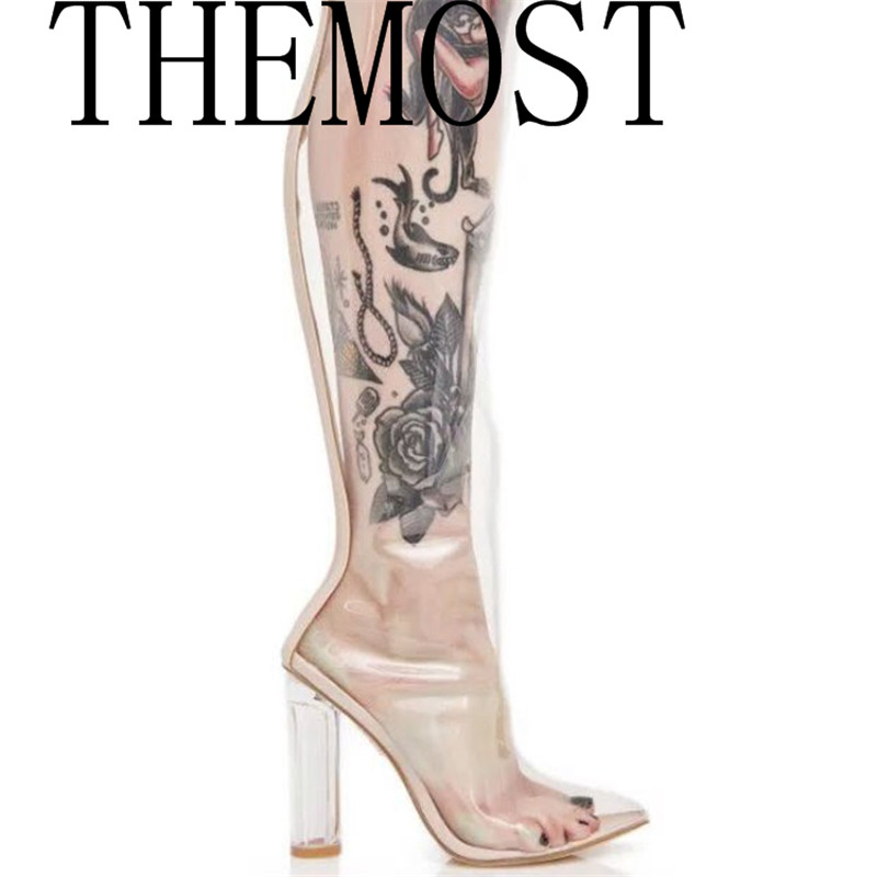 THEMOST 2017 European sexy fashion transparent boots ladies TPU leather stepping feet big size womens shoes 33-48