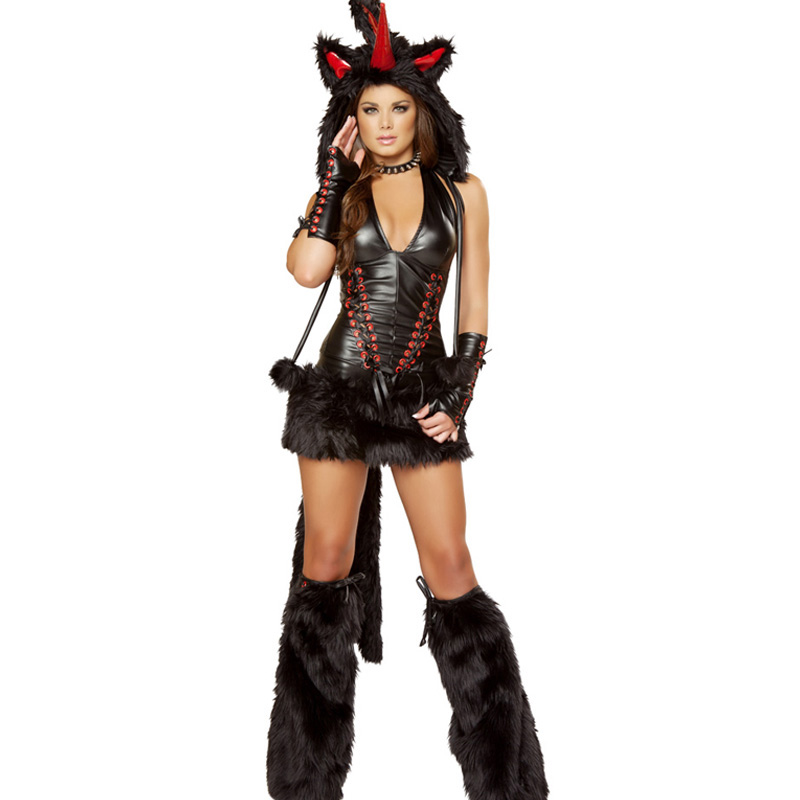 2017 New Sexy Black Magic Unicorn Costume Fashion Woman Vinyl Leather Lace Up Halloween Cosplay Fancy Clubwear Fur Animal Suit