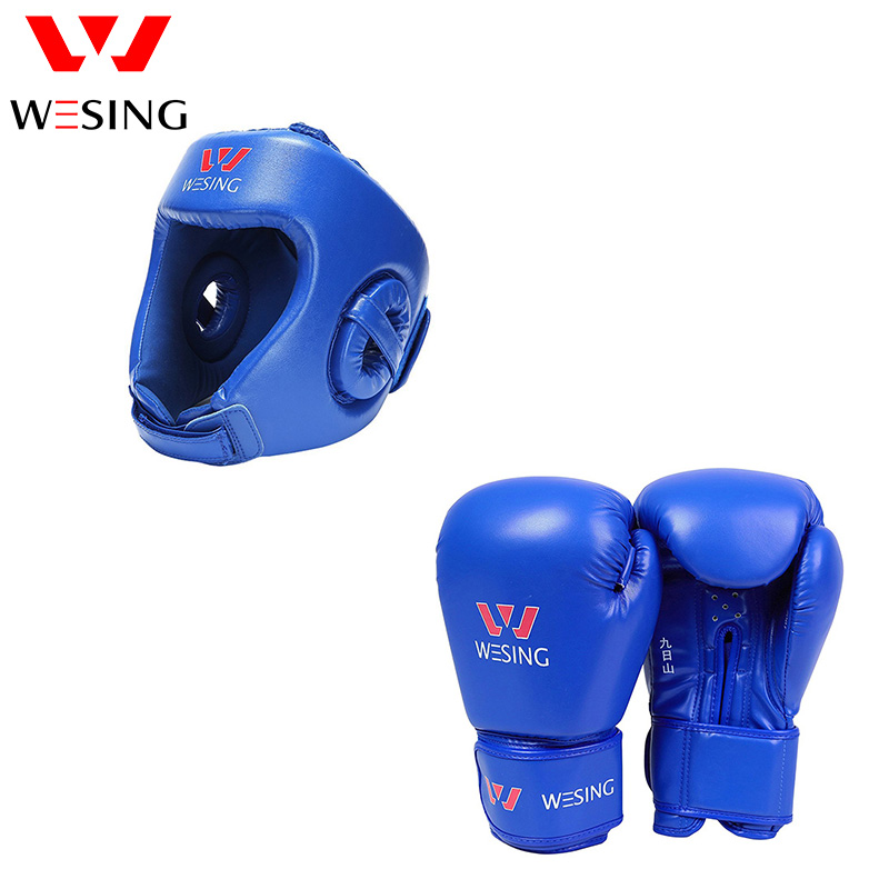WESING Boxing Gloves with Head Gears 2 Pcs Set for Kickboxing Training Protective Gears Martial Arts Gloves with Head Guard wesing boxing kick pad focus target pad muay thia boxing gloves bandwraps bandage training equipment