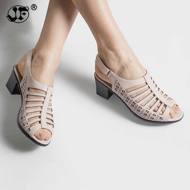 JF 2018 Buckle Strap Women Gladiator Sandals Peep Toe Summer Shoes Thick Heels  Women Sandals Soft Leather Big Size Shoes aae4c8995e60