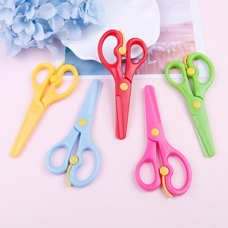 Mini Safety Round Head Plastic Scissors Student Kids Cute Paper Cutting Minions Supplies For Kindergarten School 135 * 61mm