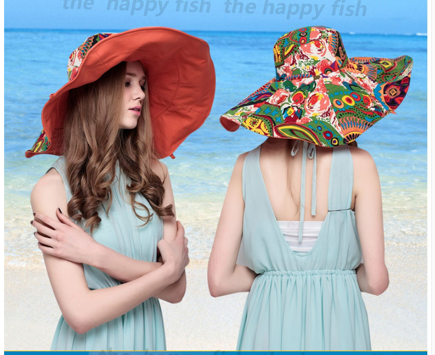 Bohemian Style! Hats Sun Hats For Women  Summer Hat For Women Large Sun Hat Beach Hat chapeu femme feminino Flower printed (12)
