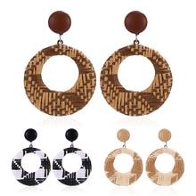 Bohopan New Geometric Rattan Weave Drop Earring For Women Vintage Round Square Hollow Wooden Dangle Earrings Jewelry 2019
