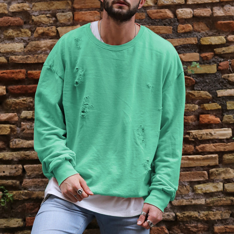 Men Fashion Hole Decorate Casual Loose Hoodies Pure Color Long Sleeve O Neck Sweatshirts Streetwear Tracksuits Autumn Clothing in Hoodies amp Sweatshirts from Men 39 s Clothing