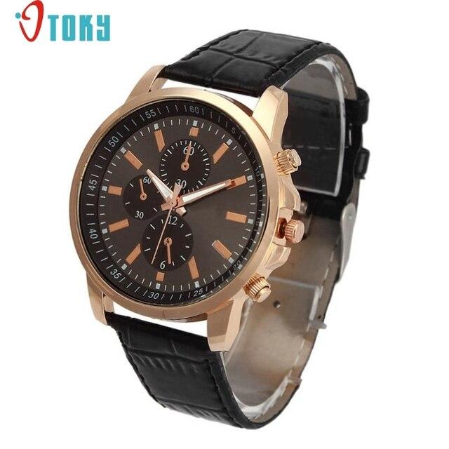 Ausgezeichnete Qualität OTOKY Luxus Quarz Uhren Herrenmode Genf Quarzuhr Lederband Armbanduhren Relogio...