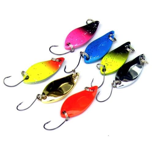 JTLURE 7 unids/lote 5g cuchara de pesca salmón, trucha, Señuelos de metal, señuelo de pesca invierno