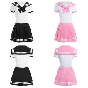 Image 3 - IEFiEL Vrouwen Sexy Cosplay Lingerie Schoolmeisje Student Uniform Kostuums Outfit Sets Snap Kruis Romper met Mini Plooirok