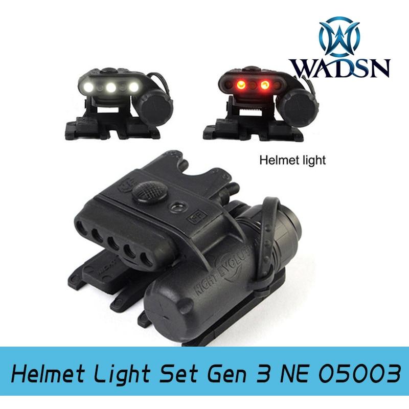 Night Evolution Helmet Light Set Gen 3 Light Helmet White&Red infrared LED Flashlight Clamp Hunting Military Tactical NE05003