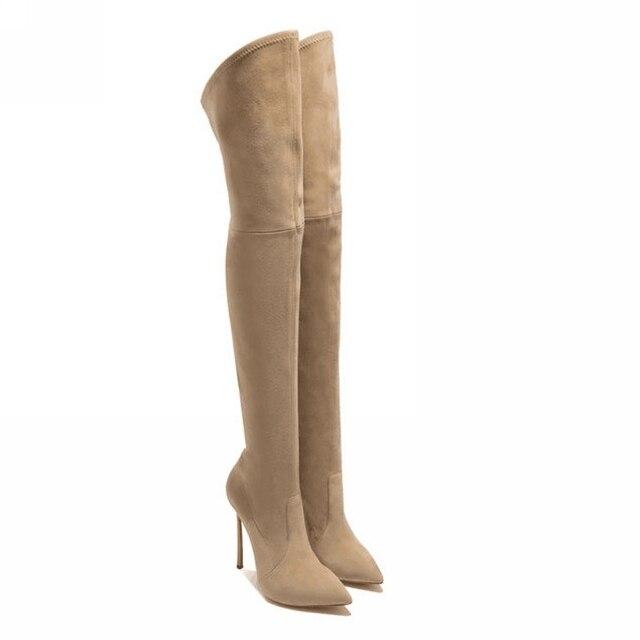 2016 mulheres coxa botas altas sobre as botas do joelho para as mulheres da moda inverno e outono sapatos de mulher botas mujer femininas