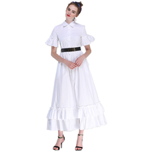 Summer 2017 Female Russian Style Women's Short Falre Sleeve Solid Color Black & White Maxi Long Ball Gown Dress Plus Size S-4XL