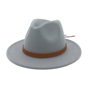 25f1308ce835 Sombrero Fedora elegante para Mujeres Hombres de ala ancha sombreros de  fieltro de invierno de imitación de lana gorra para hombre Vintage tapas ...