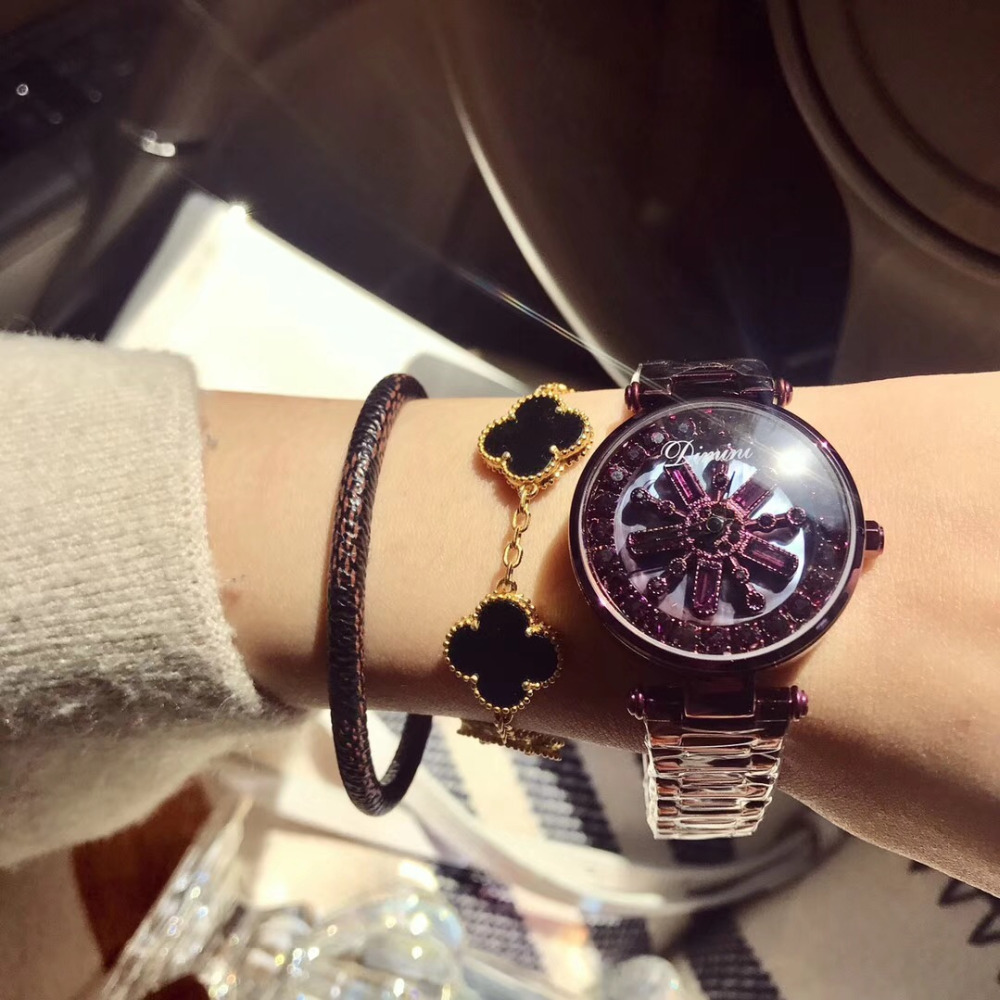 New Crystal Flower Spinning Watches For Women Anti Fading Full Purple Steel Watch GOOD LUCK Rotating Bracelet Wrist Watch Quartz