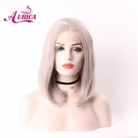 Aurica Short Bob Light Grey Heat Safe Synthetic Hair Lace Front Wig