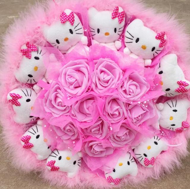 Popular Cute Lovely Hello Kitty Soap Roses Cartoon Bouquet Gift