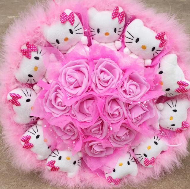 Cute Kitty Cartoon Wallpaper Popular Cute Lovely Hello Kitty Soap Roses Cartoon Bouquet