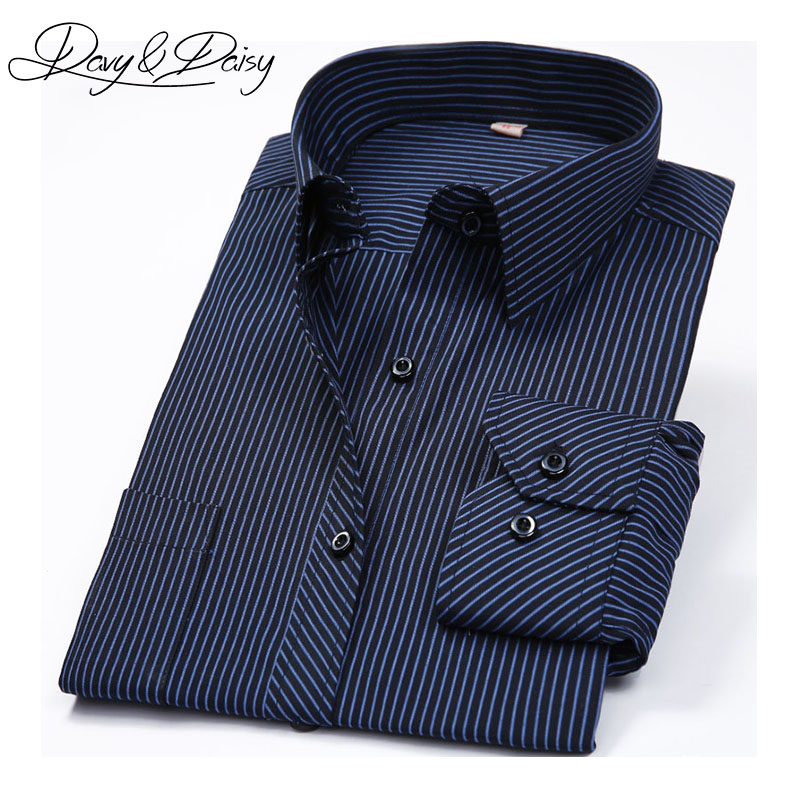 DAVYDAISY High Quality Dress Shirt Men Spring Slim Fit Long Sleeve Business Men Social Formal Plaid Stripe Casual Shirts DS-127