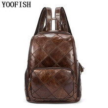 YOOFISH  Hot School Backpack Bag Women Fashion Male Travel Genuine Leather Men Casual Backpacks