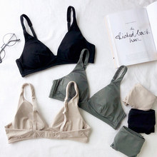 2018 New Fashion Women simple Bra set ladies Underwear brassiere wireless Lingerie sexy deep v neck thin pad cup bralette set