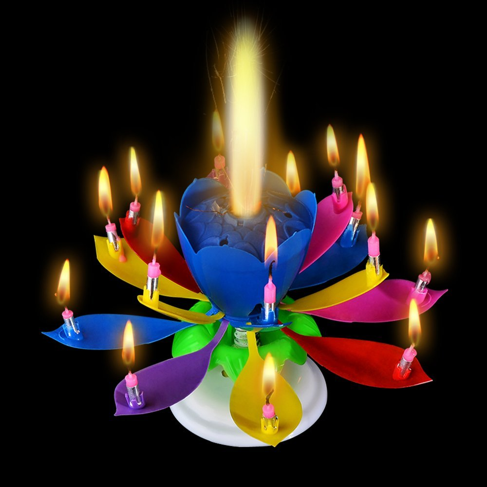 50pcs/set Fashion Amazing Romantic Musical Lotus Rotating Happy Birthday Wedding Candle Magical Sparklers For Party Decoration Candles
