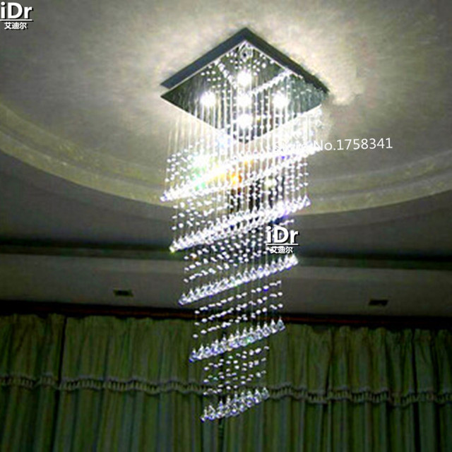 Led crystal chandelier modern penthouse floor luxury square crystal led crystal chandelier modern penthouse floor luxury square crystal chandelier fishing line stairs light high quality aloadofball Images