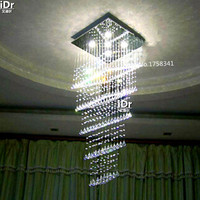 LED crystal chandelier modern penthouse floor luxury square crystal chandelier fishing line stairs light high quality