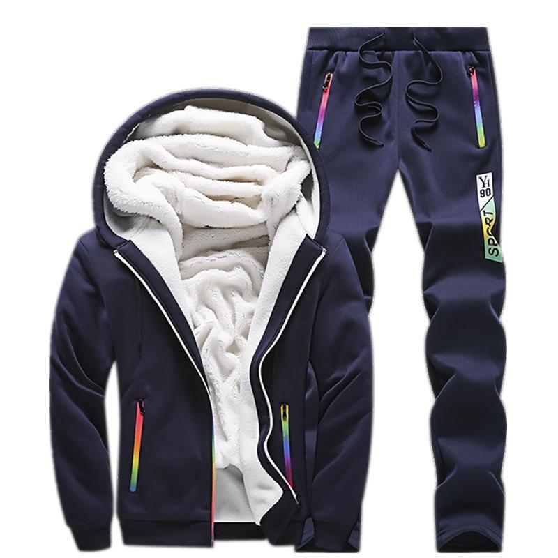 24.87 Sweatshirt Men Tracksuit Fleece Set Winter Thicken Hoodies + Pants Suit Spring Sportswear Set Male Hoodie Sporting Suits