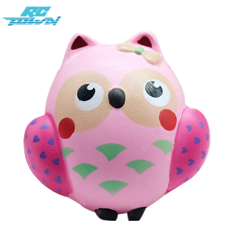 RCtown Cute Owl Toy PU Soft Slow Rising Squeeze Toys for Kids Adults Relieve Anxiety Fun Gift zk15