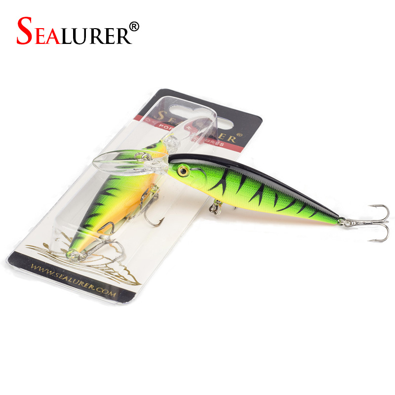 SEALURER 1Pcs Fishing Lure Bait  Minnow with Treble Hook Isca Artificial Bass Fishing Tackle Sea Japan Fishing Lure 3d Eyes fishing tackle box for storage bait hook with a waist belt