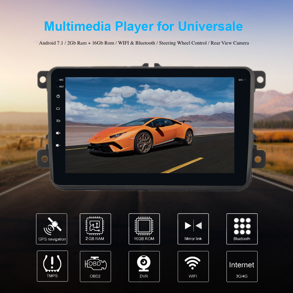 Stereo Head Unit 1 Din android GPS for Passat Tiguan Golf Radio for Seat for Skoda