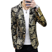 Gold Blazer Male Floral Casual Slim Blazers 2019 Fashion Party DJ Night Club Singer Stage Hair Stylist Men Suit Jacket 3XL