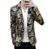 Gold Blazer Male Floral Casual Slim Blazers 2019 Fashion Party DJ Night Club Singer Stage Hair Stylist Men Suit Jacket 3XL