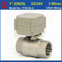 "DC24V 3 Wires Miniature Electric Valve SS304 1"" (DN25) NPT/BSP Actuator Valve Metal Gear High Quality Hot Sales IP67/CE"