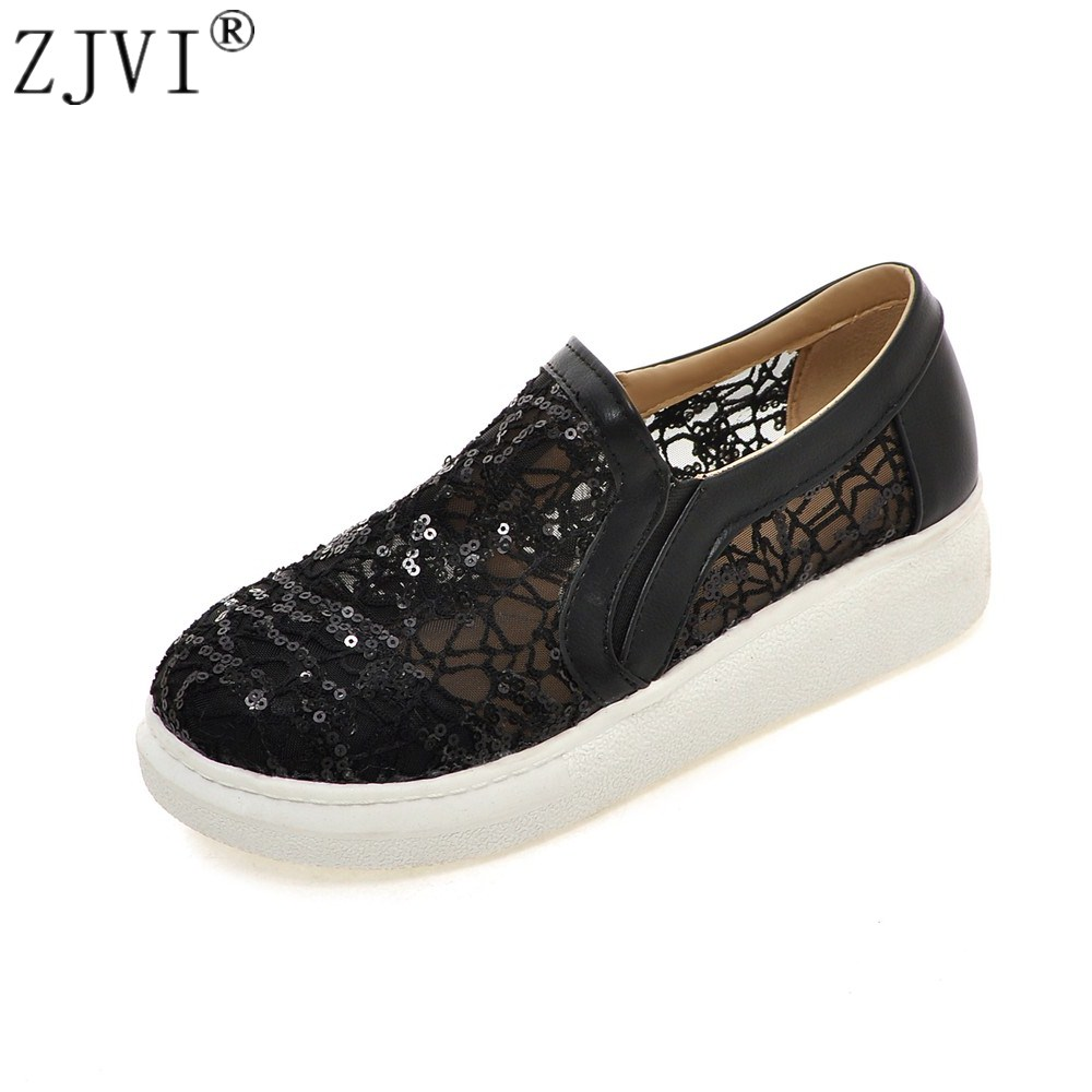 ZJVI Women round toe loafers summer Lace mesh shoes 2108 woman flats womens casual shoes ladies fashion flat platform sneakers