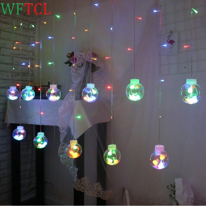 Красочный Желая мяч строка светодиодные фонари для дома Спальня окна Шторы строка огни партия Рождество фестиваль украшения