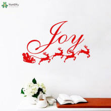 YOYOYU Wall Decal Joy Santa And His Reindeer Vinyl Home Decor Stickers Merry Christmas Art Poster Creative Design GiftCT609