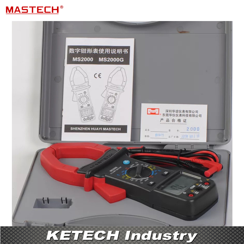 MASTECH MS2000G Digital Clamp Meter Current AC DC Voltage Resistance Temperature Tester  1pc mastech m266 voltage current resistance temperature digital clamp meter