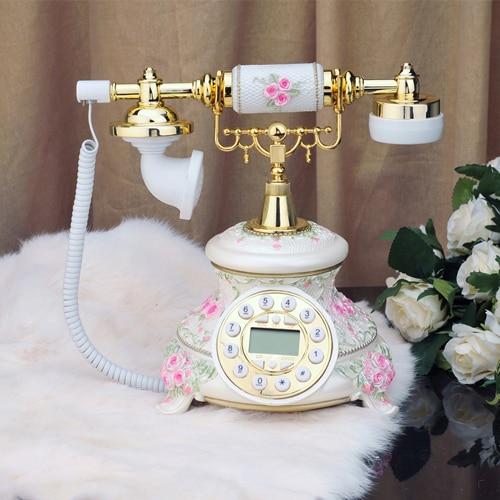 Новый Европейский телефон антикварные телефон стационарный телефон белый ретро стерео цветник телефон бытовой Проводные телефоны