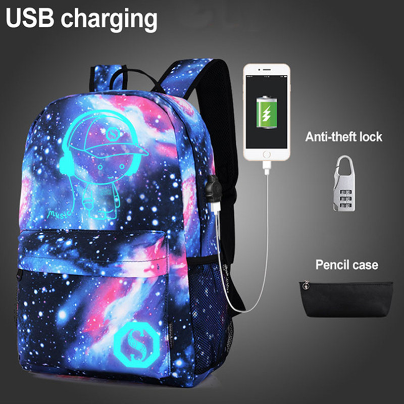 3pcs Anti-thief School Bags For Teenage Girls Starry Sky Anime Luminous School Backpack Child Teenage Schoolbag Backpack Boys