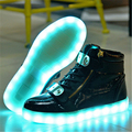 2017 High quality 7 LED colors women brand high-top shoes size 35-44 casual shoes USB charging adults lights shoes zapato