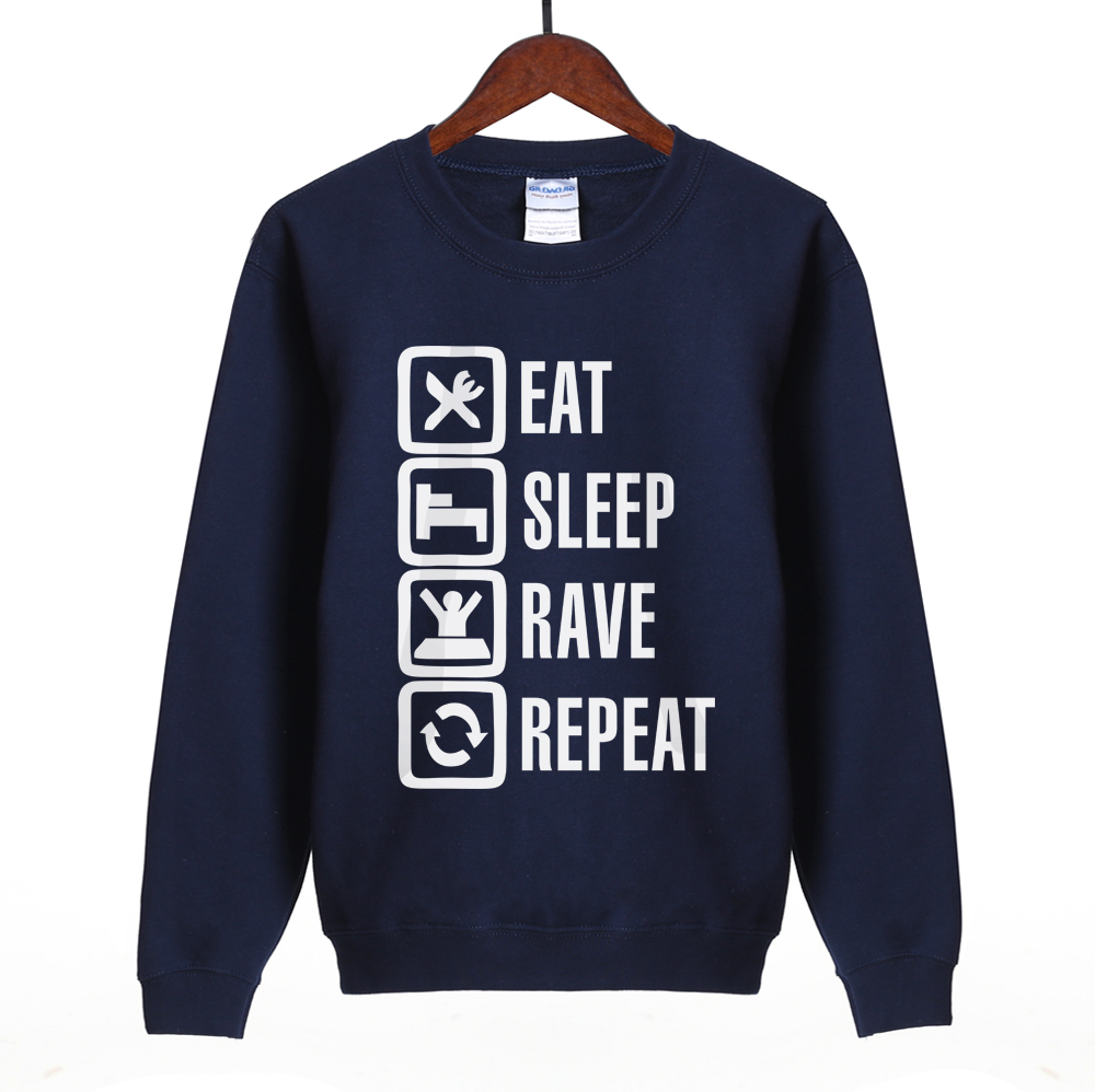eat sleep rave repeat letter print 2018 autumn women sweatshirt hip hop hoody fashion brand clothing tracksuit black funny suit