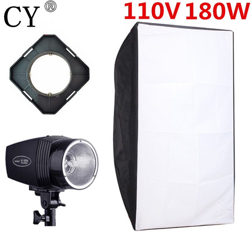 цены CY Photography Kits 180ws 110v Mini Flash Light+50cm*70cm Softbox+Universal Mount Photo Studio Flash Lighting Kits Godox K-180A