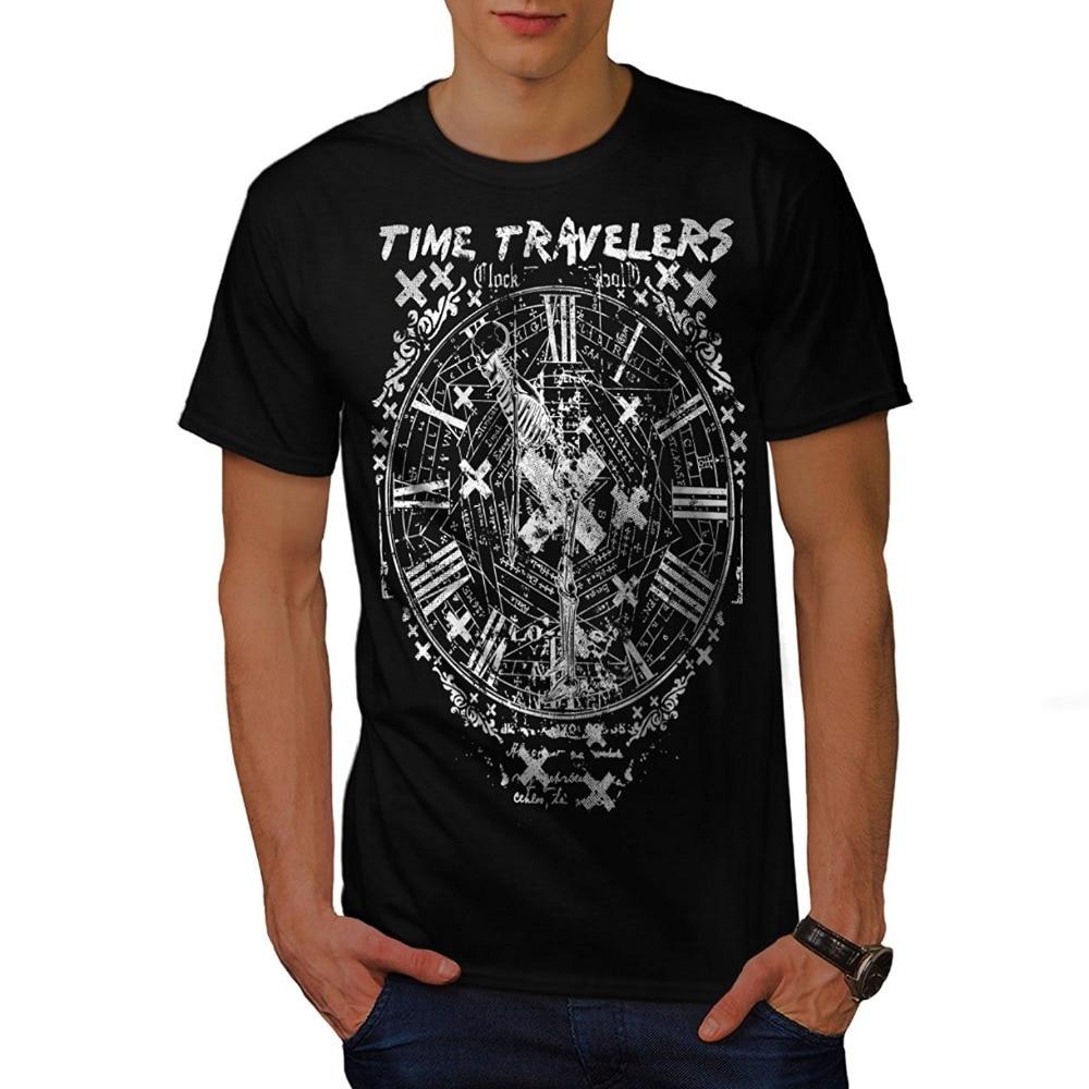 Футболка Для мужчин 2018 Мода Harajuku рубашка Для мужчин футболки время путешествия часы Винтаж Для мужчин S-3XL т-shirtdesign Топы