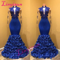 Royal Blue Long Sleeves Evening Dresses Deep V Neck Mermaid Prom Dresses 2018 Lace Appliques African Women Formal Party Gown