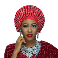 2018 New african aso oke headtie nigerian gele headtie already made auto hele turban cap aso ebi big brim gele