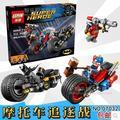 Nueva lepin 07032 super hero poderoso micros deadshot harley batman con motocicleta bloques juguetes 212 unids reina 76053