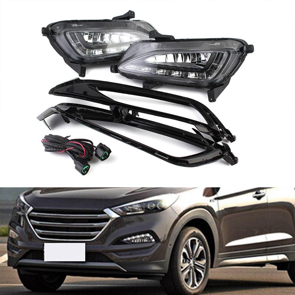 2x Car LED Daytime Running Light Cover Fog Assembly For Hyundai Tucson 2015-2017