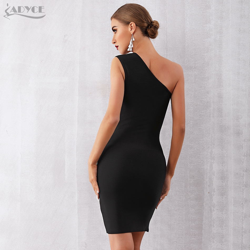 ADYCE 2019 New Summer Women Bandage Dress Sexy One Shoulder Zipper Black Clubwear Dress Vestidos Celebrity Evening Party Dresses